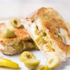 Feta, green olives and hot pepper grilled cheese