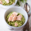Roquette pesto with linguine and steamed salmon