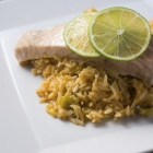Coconut-lime rice with steamed salmon