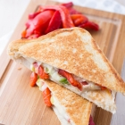Mozarella and roasted bellpeppers grilled cheese