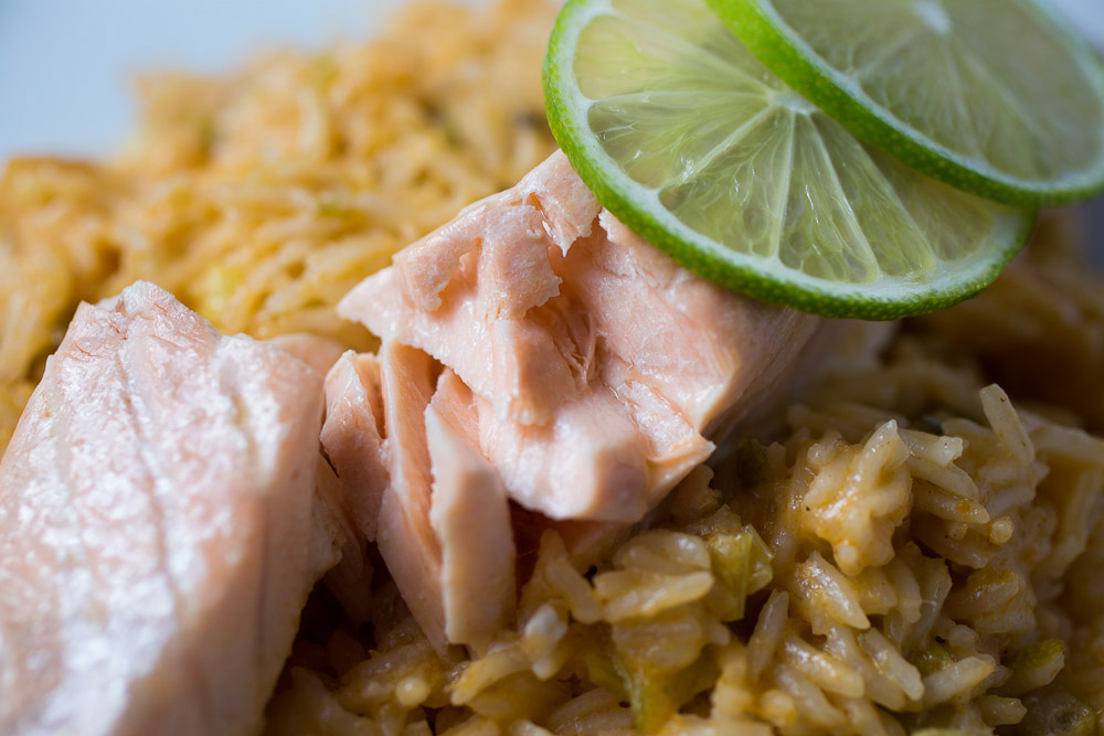 Coconut-lime rice with steamed salmon | The Girl Loves To Eat