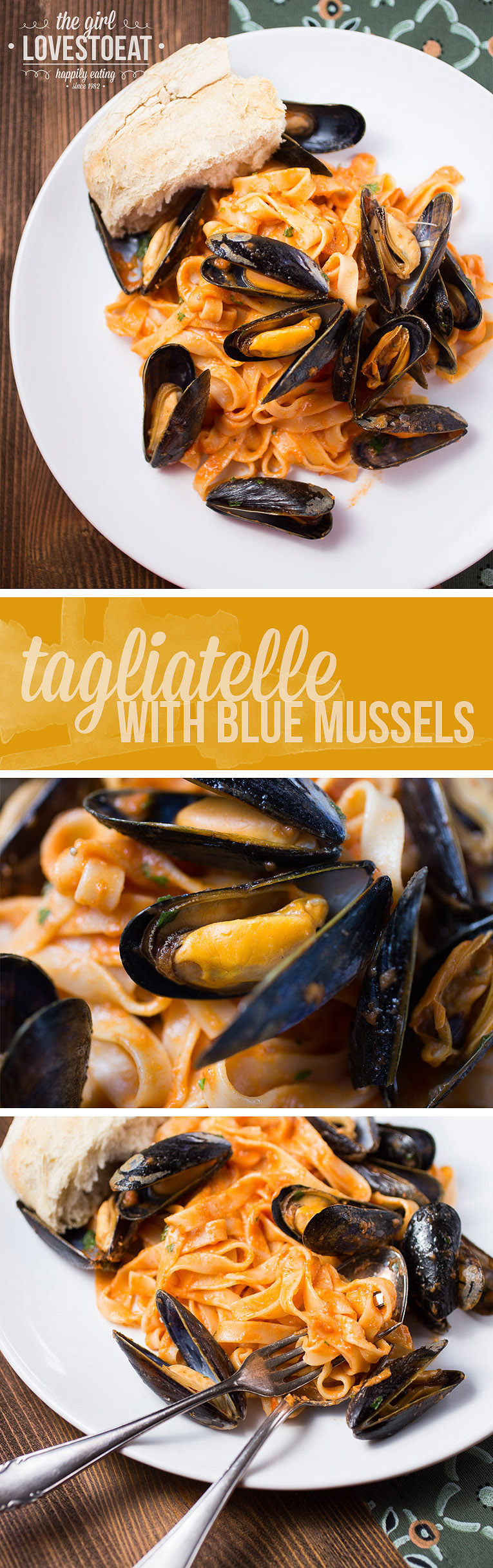 Tagliatelle with blue mussels {The Girl Loves To Eat}