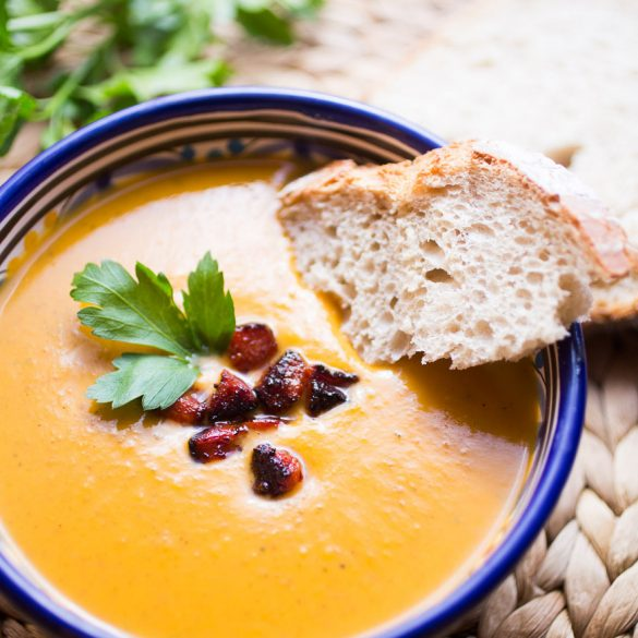 Sweet potato soup with chorizo