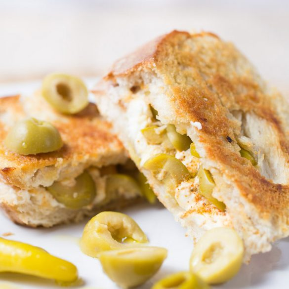 Feta, olives and hot peppers grilled cheese