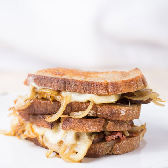 Gruyere, caramelized onions, mushrooms and bacon grilled cheese
