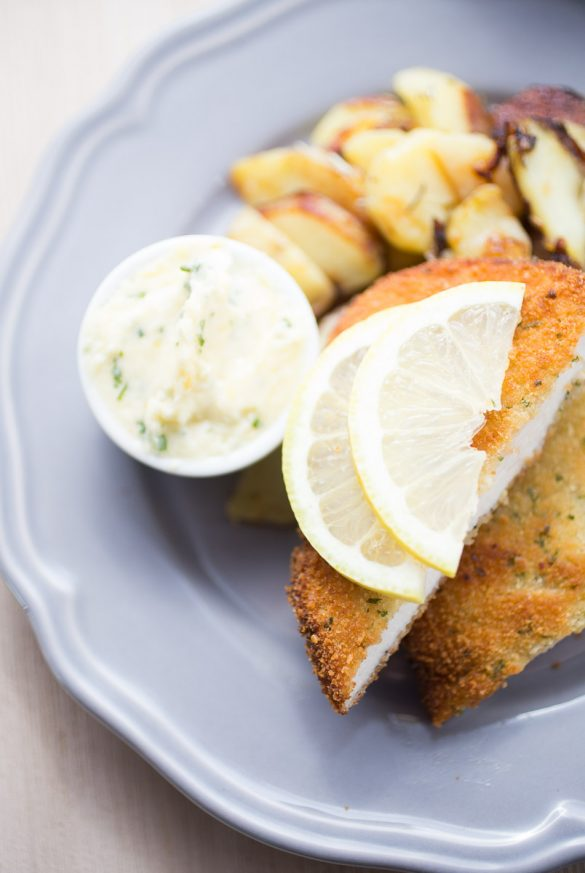 Schnitzel with lemon parsley butter