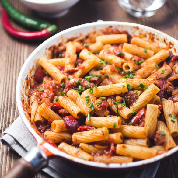 Penne all'arrabbiata with chorizo