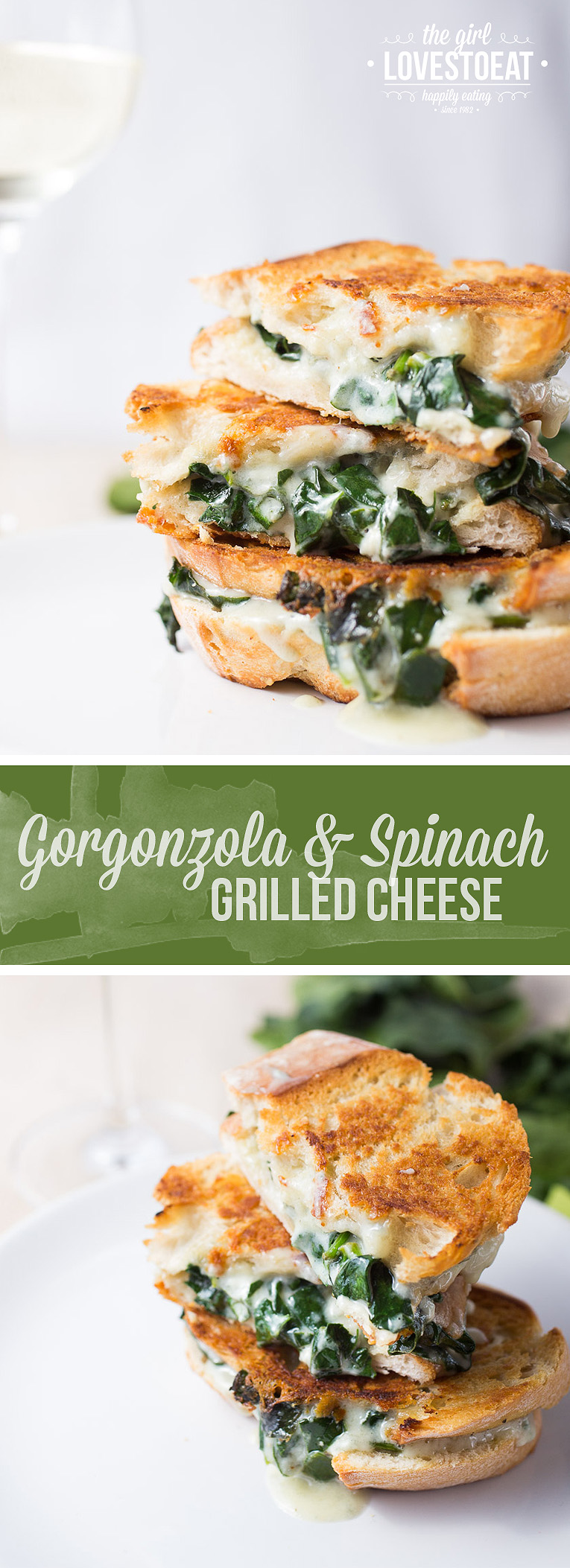 Gorgonzola and spinach grilled cheese