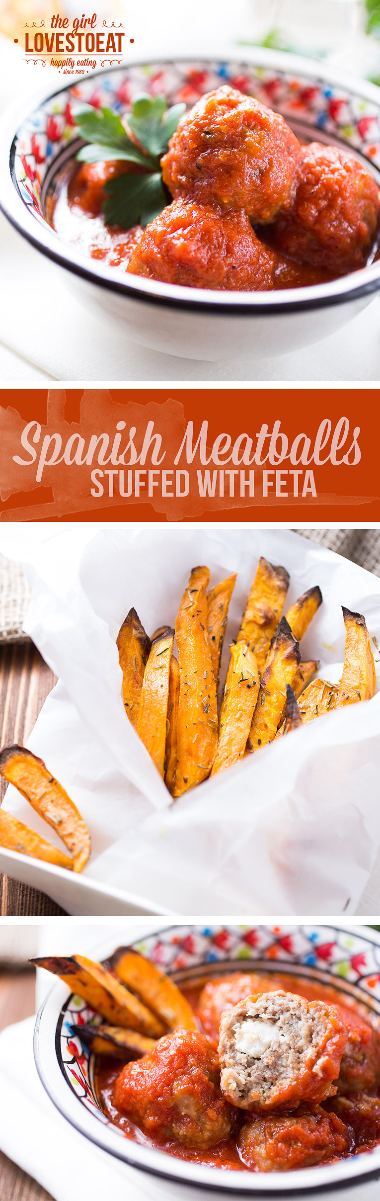 Spanish meatballs in tomato sauce stuffed with feta