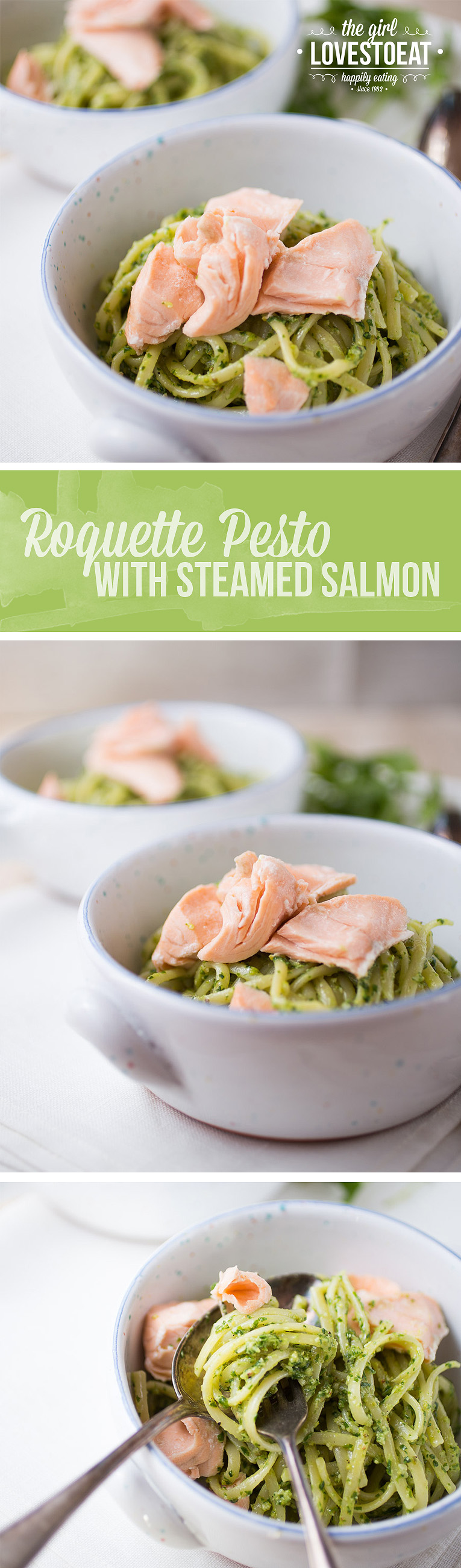Roquette pesto with steamed salmon