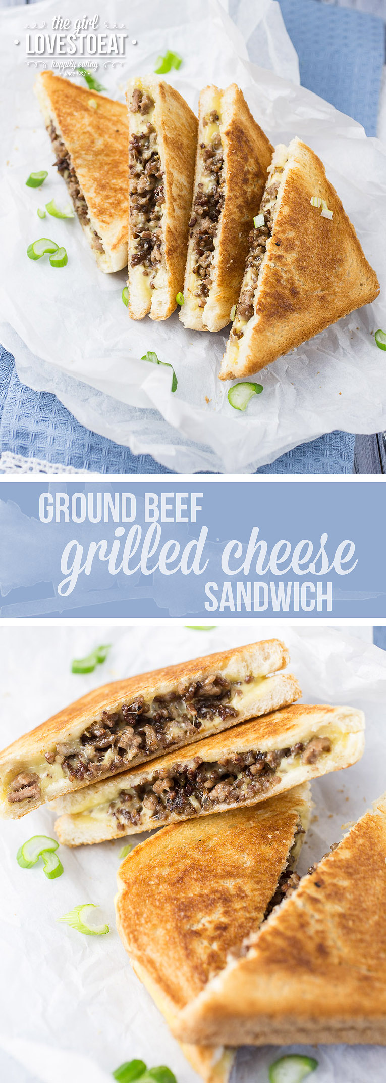 Ground Beef Grilled Cheese Sandwich { thegirllovestoeat.com }