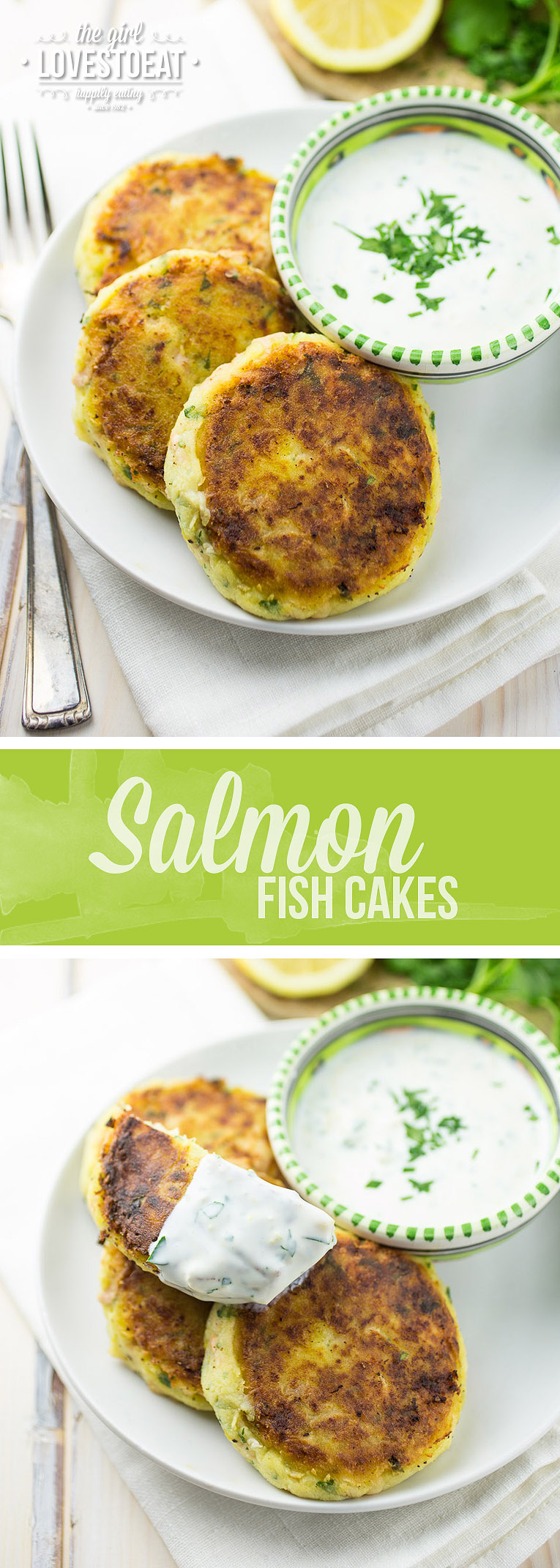 Salmon Fishcakes with Lemon Yoghurt Dip { thegirllovestoeat.com }