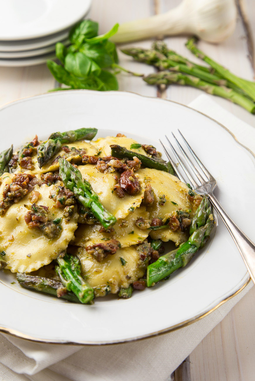 Roasted Vegetable Ravioli With Crispy Pancetta Recipe — Dishmaps
