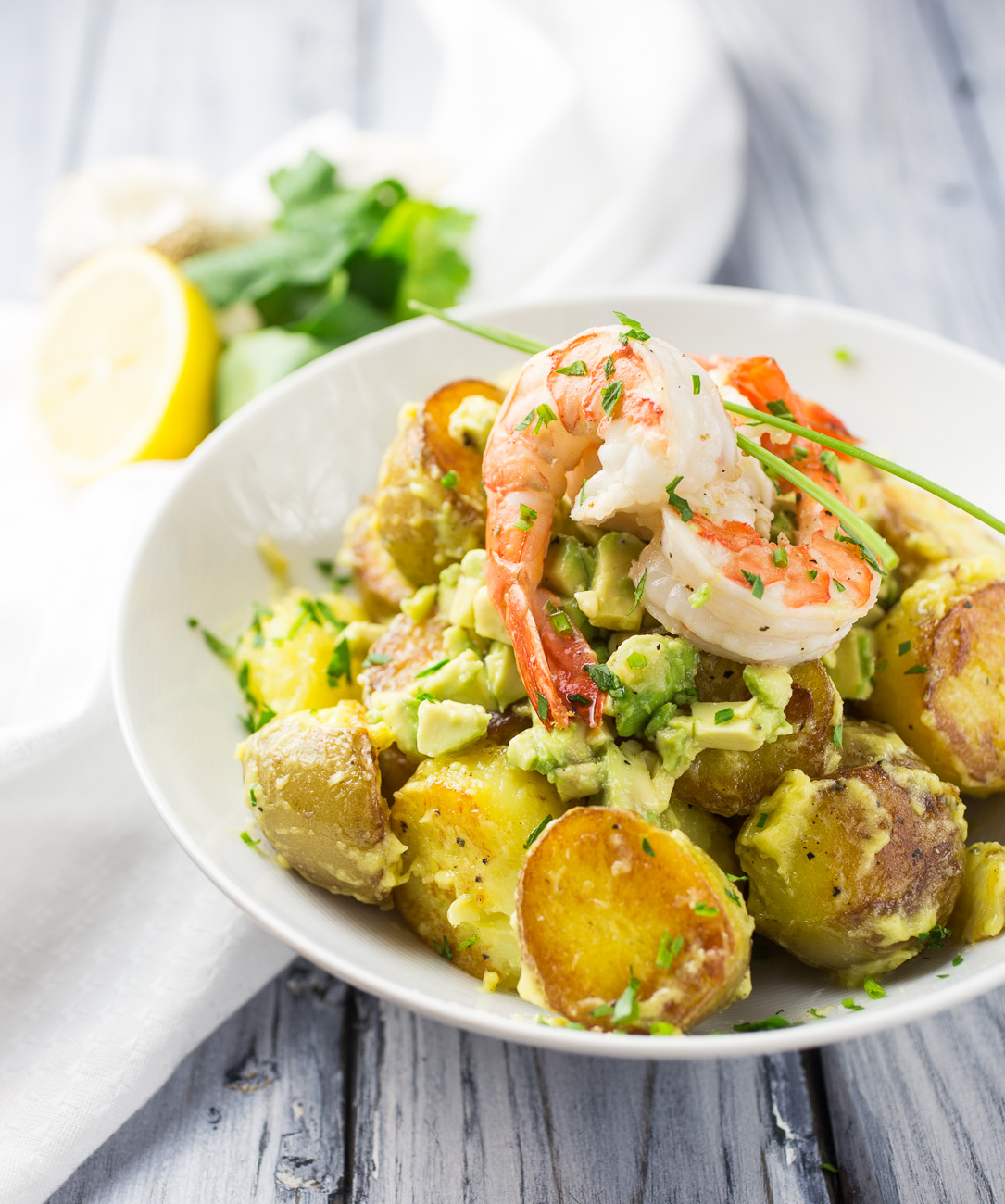 Avocado and prawn potato salad { thegirllovestoeat.com }